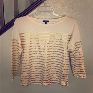 Gold and White Striped Loose Fitting Top